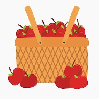 かごの中の新鮮な赤いリンゴ。新鮮な果物