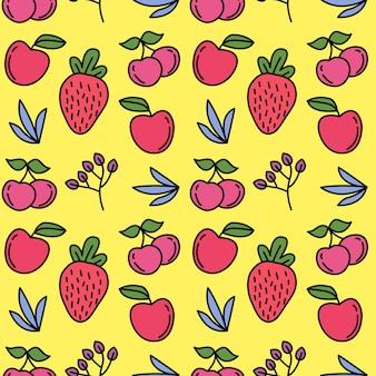 Fresh red fruit seamless vector background