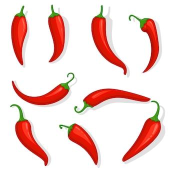Свежий красный острый перец чили. кухня органический пряный вкус чили мексиканский перец набор из трех мультяшных перцев, изолированных на белом