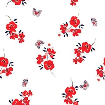 패션, 직물, 벽지 및 모든 인쇄를위한 벡터 디자인에 나비 부드럽고 부드러운 원활한 패턴으로 신선한 빨간 팬지 꽃