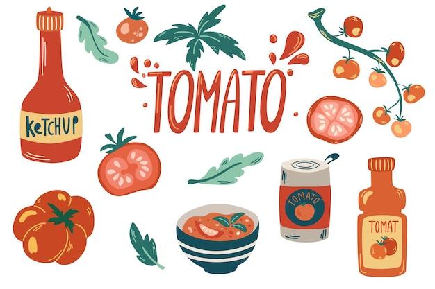 フレッシュレッドトマトコレクション。ケチャップ、トマトソース、ガスパチョスープ、枝と葉のトマト。健康的なベジタリアン料理。手描きベクトルフラット漫画イラスト。
