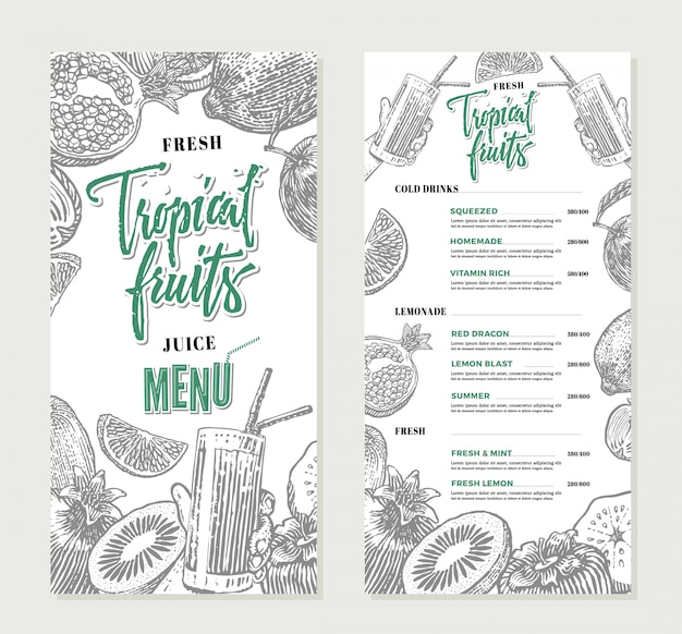 Fresh restaurant menu template