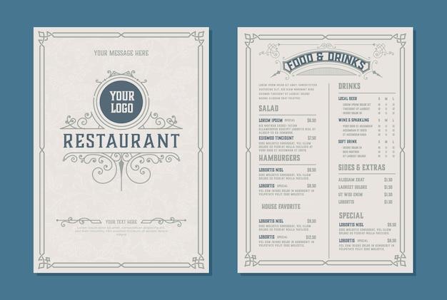레스토랑 메뉴 디자인을위한 신선한 복고풍 템플릿