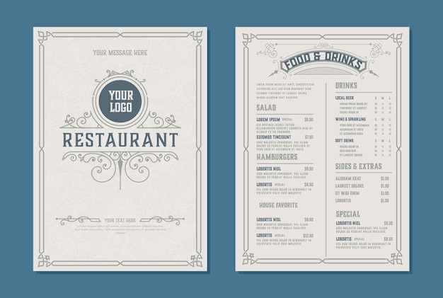 Fresh retro template for  restaurant menu design