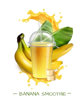 Fresh ripe banana smoothie with leaves