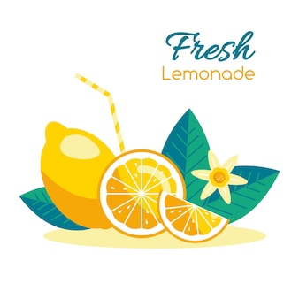 Fresh ripe lemon vector flat illustration set of sliced fruits in cartoon style half or whole