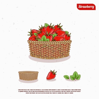 Fresh ripe strawberry in the bucket illustration design