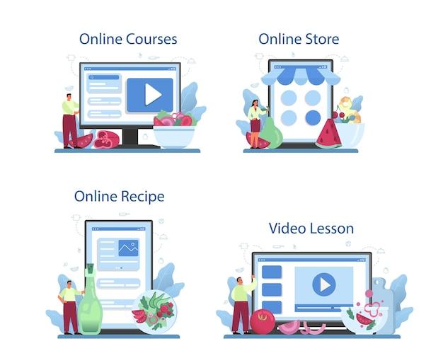 Свежий салат в миске онлайн-сервис или платформа. люди готовят экологически чистую и здоровую пищу. салат из овощей и фруктов.
