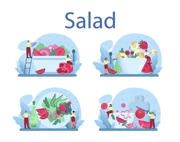 Свежий салат в наборе миска. люди готовят экологически чистую и здоровую пищу. салат из овощей и фруктов.
