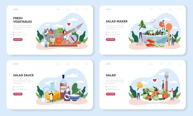 Свежий салат в миске веб-макета или набора целевой страницы. люди готовят экологически чистую и здоровую пищу. овощно-фруктовый салат.