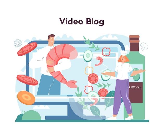 신선한 샐러드 온라인 서비스 또는 유기농 요리 플랫폼 사람들