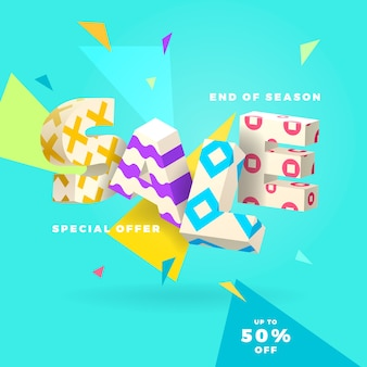 Fresh sale banner, 3d letters and abstract shapes