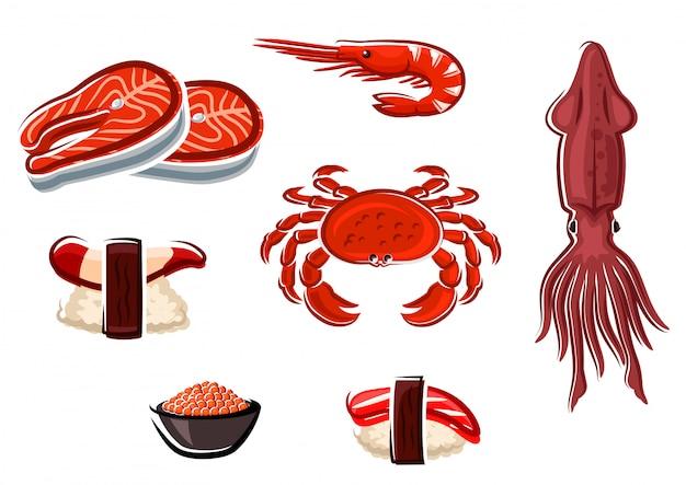 Свежие морепродукты и морские животные