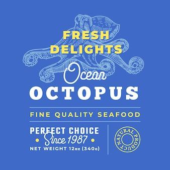 Этикетка премиального качества «свежие морепродукты». дизайн-макет упаковки.
