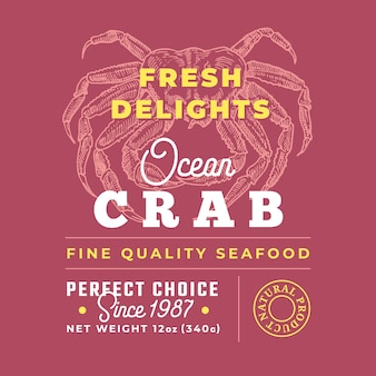 Fresh seafood delights premium quality label. packaging design layout.