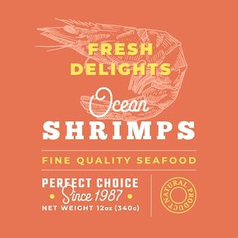 新鮮なシーフードはプレミアム品質のラベルを喜ばせます。パッケージデザインのレイアウト。
