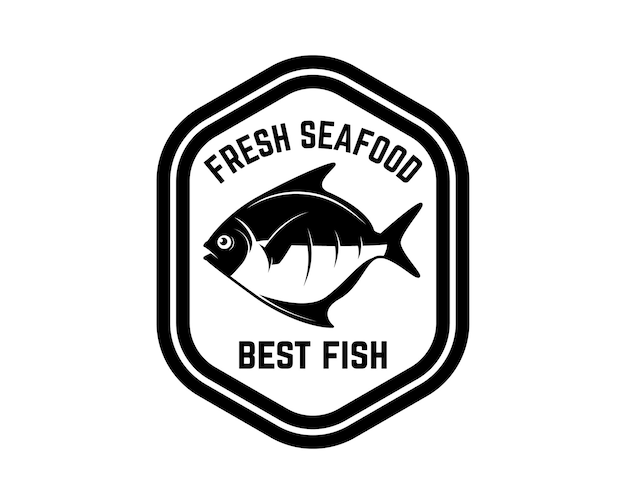 Fresh seafood. label template with fish.
