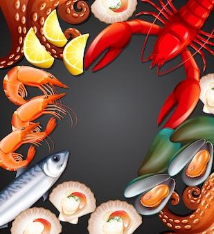 Fresh seafood set banner
