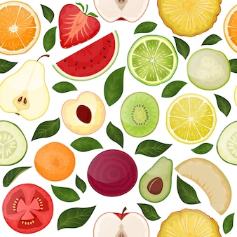 Fresh seamless pattern with slice vitamin fruits vegetables on nature food fruity  hand drawn illustration isolated on white
