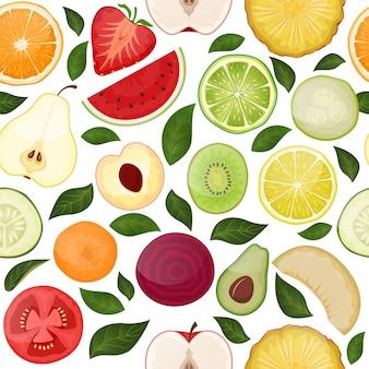 自然食品フルーティーな手描きのイラストを白で隔離されるスライスビタミンフルーツ野菜と新鮮なシームレスパターン