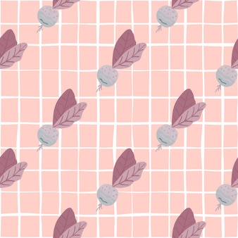 大根と新鮮なシームレスな野菜のパターン。柔らかいピンクの背景。壁紙、テキスタイル、包装紙、布地プリントの装飾。 。