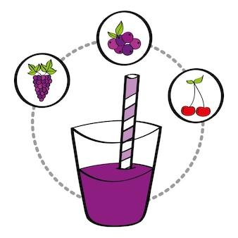 Fresh smoothie juice drink fruit grape cherry