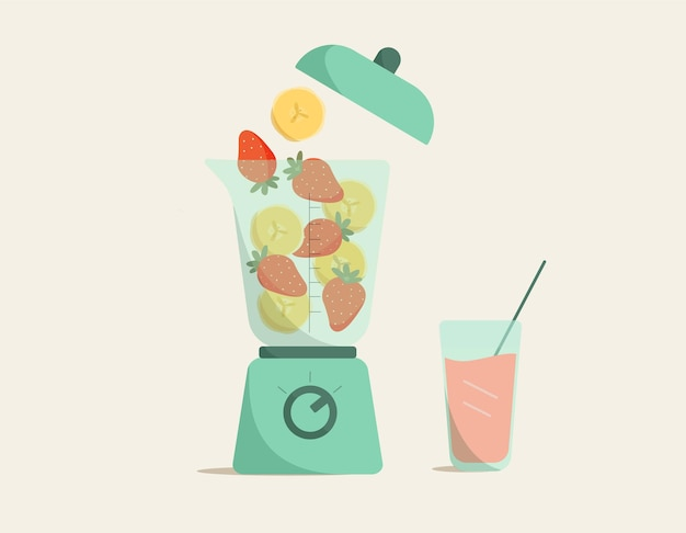 Fresh smoothies with banana and strawberry