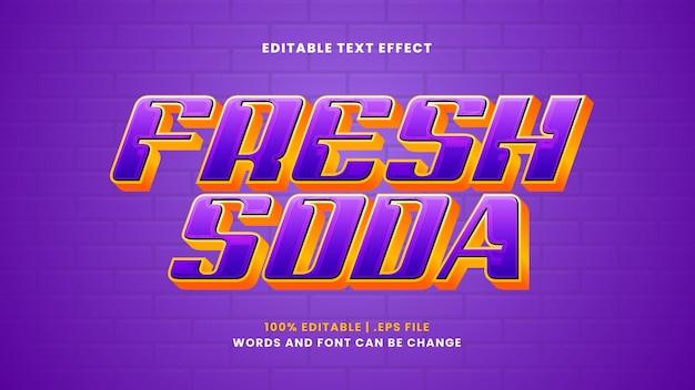 Редактируемый текстовый эффект свежей газировки в современном 3d стиле