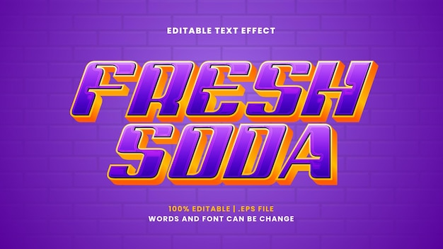 Fresh soda editable text effect in modern 3d style