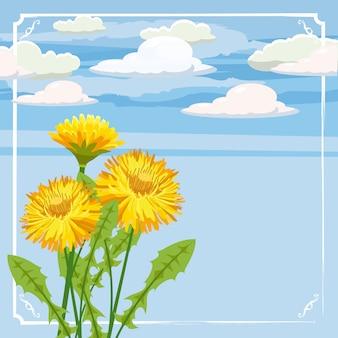 Свежий весенний фон с цветами одуванчиков и ромашек