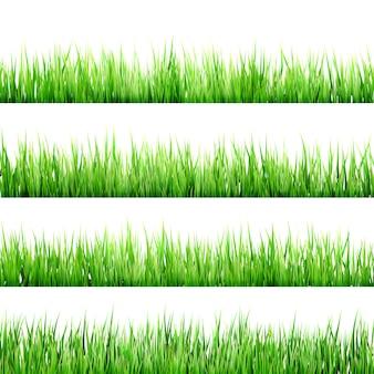 新鮮な春の緑の草は白で隔離されます。