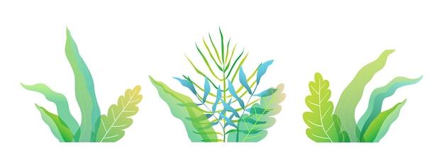 Свежие весенние или летние зеленые цветочные листья и трава плоская акварель стиль иллюстрации.