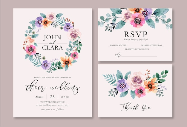 Fresh spring purple and peach floral watercolor wedding invitation