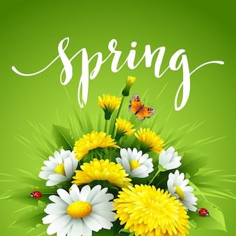 草、タンポポ、ヒナギクの新鮮な春。
