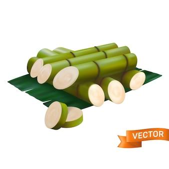 Свежий сахарный тростник нарезать зелеными кусочками, нарезать ломтиками и уложить друг на друга. в реалистичном стиле 3d-сетки, изолированном на белом фоне