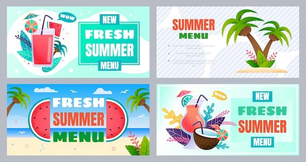 Fresh summer beach bar menu advertising banner set