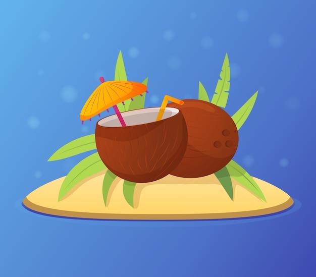 Свежий летний коктейль из кокосов. тропический остров с пальмовыми листьями. на песчаном пляже отдых. экзотический напиток из кокосовой воды с зонтиком и трубочкой.