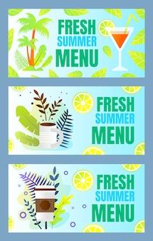 Установите надпись fresh summer menu cartoon flat