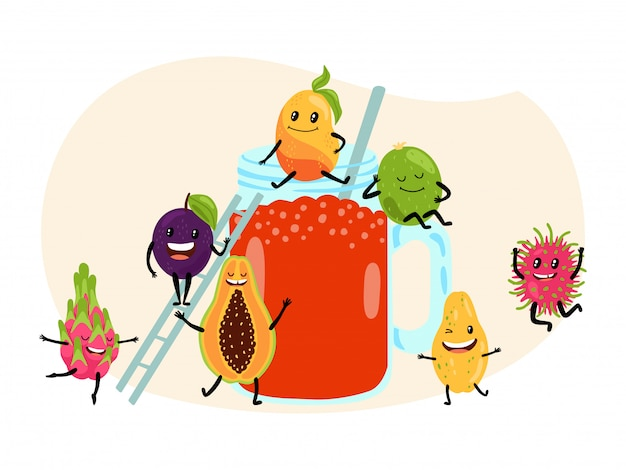 Концепция плодоовощ сока свежего лета тропическая на белизне, иллюстрации. азиатская папайя, арбуз, дракон, фрукты, личи и слива.