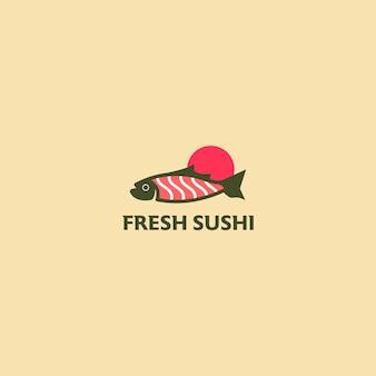 Fresh sushi restaurant logo template illustration