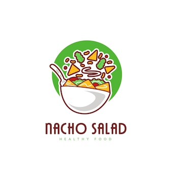신선한 타코 나초 샐러드 그릇 로고