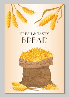 Fresh & tasty bread banner with sack of wheat