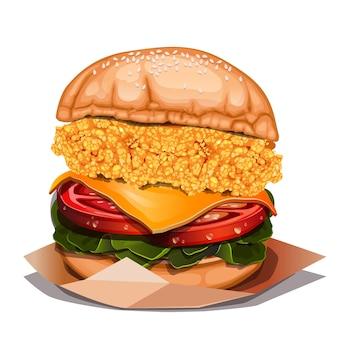 Свежий вкусный бургер на белом фоне вид сверху