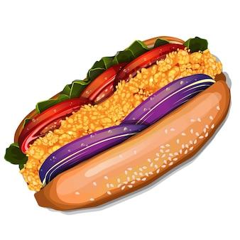 Fresh tasty chicken hotdog isolated on white background top view