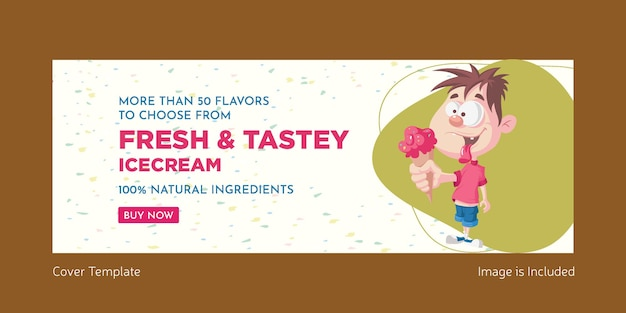 Fresh and tasty ice cream cover page template