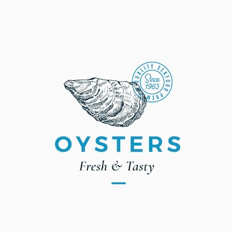 Fresh and tasty oysters abstract sign, symbol or logo template. hand drawn shellfish mollusc with premium classic typography and quality seal. stylish classy emblem concept. isolated.