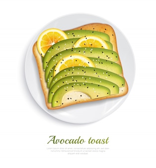 Fresh toasted bread with slices of ripe avocado and lemon on white plate realistic concept