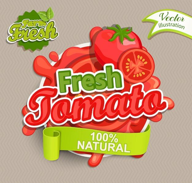 신선한 토마토 로고.