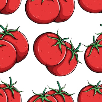 Fresh tomato seamless pattern with colored hand drawn style