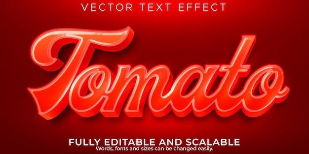 Fresh tomato text effect, editable natural and vegetable text style